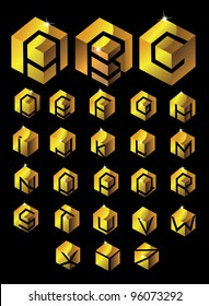 Gold Cube Alphabet EPS 8 vector, grouped for easy editing. No open shapes or paths.