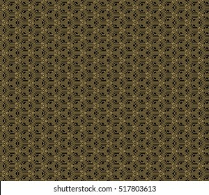 Gold cubes on black. Optical illusion. Vector illustration. For the interior design, wallpaper, business