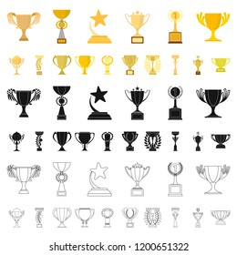 Gold Cup cartoon icons in set collection for design. Winners Cup vector symbol stock web illustration.