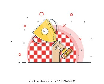 Gold cup for Croatia. Hand holding winner's trophy award. Trendy flat vector on white background. Vector Illustration.