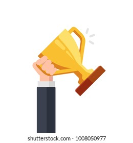 Gold cup in hands. Hand holding winner's trophy award. Business goal achievement concept. Vector flat illustration isolated on white background