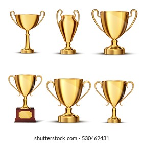 gold cup isolated on white background.