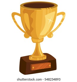 Gold Cup or trophy. Cartoon vector illustration isolated on white background.