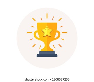 Gold cup trophy icon. Winner award sign. First place cup symbol. Championship or competition trophy. Winner prize icon. Success reward vector.