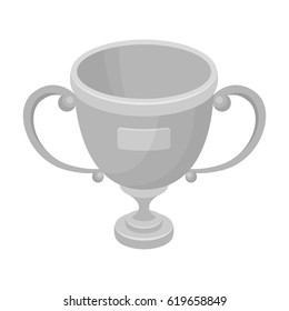 Gold cup of the winner.Fans single icon in monochrome style vector symbol stock illustration.