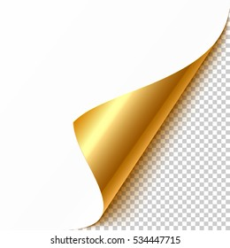 Gold curled corner with reflection and shadow on transparent background realistic vector illustration.