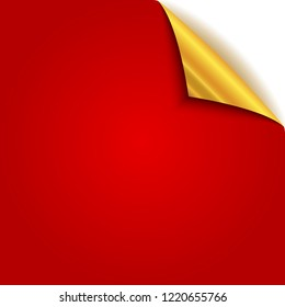 Gold curled paper corner. Vector illustration. Red page with gold back side