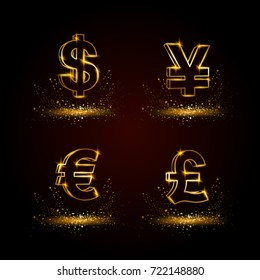 Gold currency symbols set. Currency linear vector illustration on a black background.