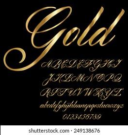 Gold Cursive Font