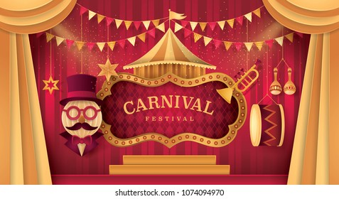 Gold Curtains stage with Circus Frame Border, Triangle bunting flags and Hanging Circus Barker with Hat,Glasses and Mustache, Carnival trumpet, Mexican maracas, Drum, Paper art vector and illustration