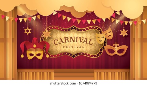 Gold Curtains stage with Circus Frame Border, Cloud and Hanging Carnival Mask, Venetian Jester mask, Triangle bunting flags, Fun Fair, Day Scene festival, Theme Theater, Paper art vector illustration