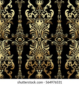 Gold damask floral seamless pattern with arabesque, oriental ornament, luxury design. Abstract traditional decor for backgrounds with natural motifs, wallpaper, fabric, decoration. Vector ClipArt