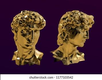 Gold David Sculpture Head Vector 3D Rendering