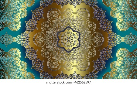 gold decor on a light blue background, design element in the eastern, Arab-style