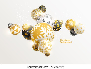 Gold decorative Christmas balls. New year background.