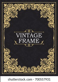 Gold decorative frame. Greeting card in grunge or retro style. Interwoven vintage ornament. Luxurious template for monogram, background of initials, design of books, invitations, postcards, booklets.