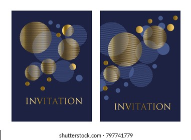 Gold and deep blue color abstract geometric design element for card, invitation, poster. Vector illustration of concept circle planet pattern.