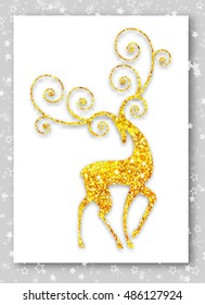 Gold deer in modern style. Ideal for Merry Christmas, happy new year, Xmas  greeting card or holiday party invitation.
