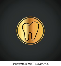 gold dental tooth business company logo