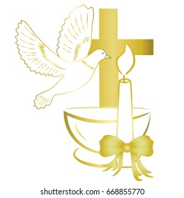 Gold design for sacrament of baptism invitation, card.
