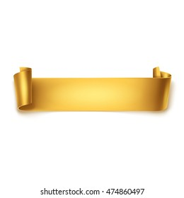 Gold detailed curved ribbon isolated on white background. Curved paper banner.