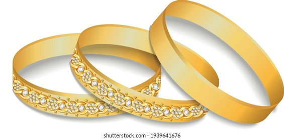 Gold diamond cut bangles with flower chain jewels vector eps 10 file