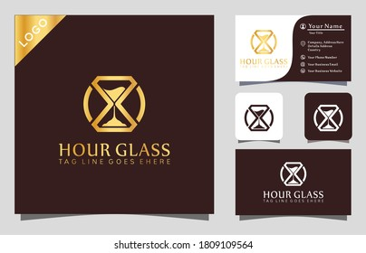 Gold Diamond Hour Glass logo design inspiration vector illustration with line art style,  fashion, cosmetic, modern company icon business card