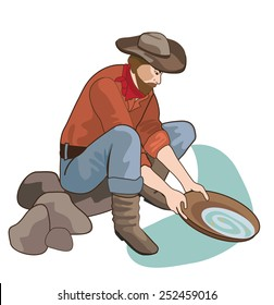 Gold Digger Cowboy Search Gold Vector. Golden Fever. America History Color Illustration. Manual Extraction Of Gold. Seeker Of Adventures.