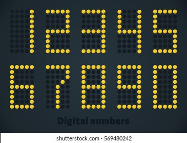 Gold digital numbers, score panel, scoreboard, use for timetable, watch, web, monitor, screen.