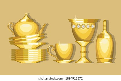 Gold dishes on a black background. Glass, cup and saucer, plates, bottle, kettle. Vector illustration