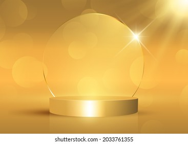 Gold display background with empty podium