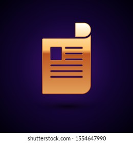 Gold Document icon isolated on dark blue background. File icon. Checklist icon. Business concept.  Vector Illustration
