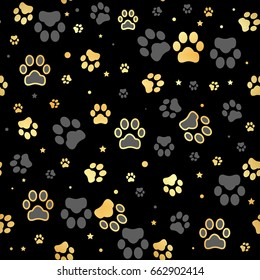 Gold Dog paw print and star seamless pattern on black background