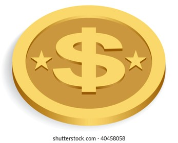gold dollar coin isolated on white, vector illustration