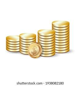 gold dollar coins in vector
