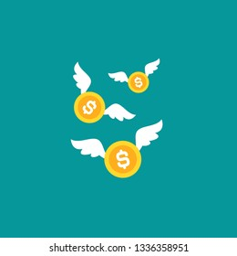 Gold dollar coins with white wings. Flat  blue background. Flying money. Economy, finance, money pictogram. Wealth symbol.  Vector illustration. Free, easy.  Spend, expenses