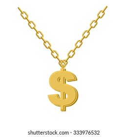 Gold dollar on chain. Decoration for rap artists. Accessory of precious yellow metal to hip hop musicians.
