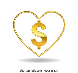 gold dollar sign in gold heart shape