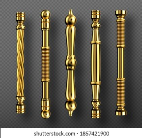 Gold door handles in baroque style, vintage golden doorknobs, classic ornate luxurious oriental column knobs, yellow metal jewelry home decor isolated on transparent background, Realistic 3d vector
