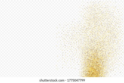 Gold Dot Abstract Transparent Background. Bright Rain Design. Yellow Dust Rich Invitation. Sequin Anniversary Texture.