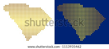 Gold Dotted South Carolina State Map Stock Vector (Royalty Free ...