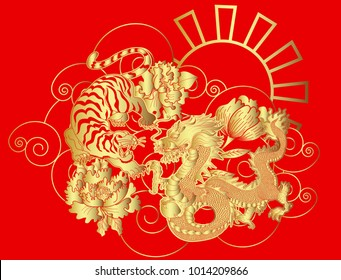 Gold Dragon and tiger tattoo on red sun and cloud.Chinese tiger and Japanese dragon with peony flower and cloud vector illustration for tattoo style.Golden and paper cut style.