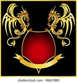 Gold dragons vector