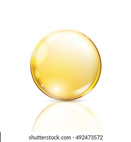 Gold drop on a white background