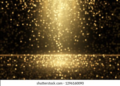 Gold dust effect. Defocused glitters. Glowing golden particles. Abstract sparkling background.