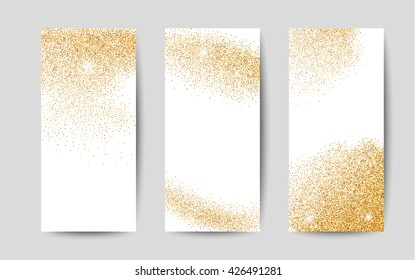 Gold dust on white background. Shiny background for banners.