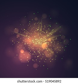 Gold dust vector firework explosion. Abstract Holiday Light Rays. Vector Illustration.