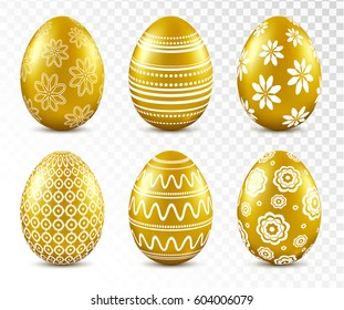 Gold easter eggs with patten set isolated on transparent background. Vector illustration.