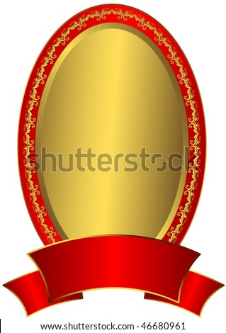 7b2abfe2298 Gold Easter Frame Red Ribbon Vector Stock Vector (Royalty Free ...