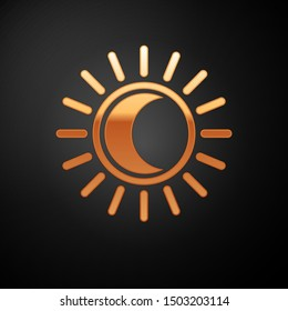 Gold Eclipse of the sun icon isolated on black background. Total sonar eclipse.  Vector Illustration